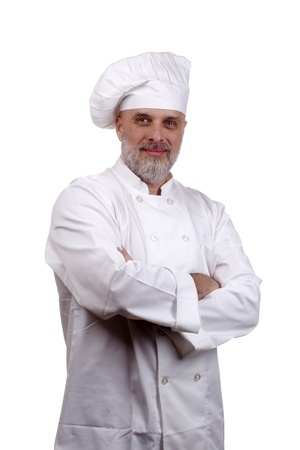 Portrait of a happy chef in a chef's hat and uniform isolated on a white background. Stock Photo - 9970004