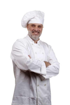 Portrait of a happy chef in a chef's hat and uniform isolated on a white background. Stock Photo - 10032912