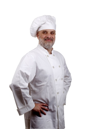 Portrait of a happy chef in a chef's hat and uniform isolated on a white background. Stock Photo - 10091907