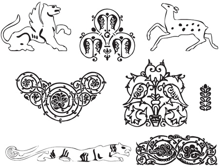 Ornament with animals for the design works. Stock Vector - 10332765