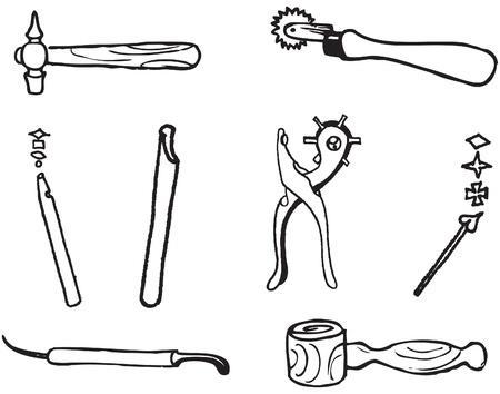 Hulpmiddelen voor het werken met een decoratieve leer. Vector illustratie. Stock Illustratie