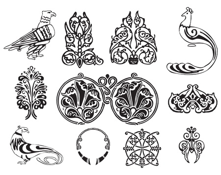 ゴシック プロットで鳥の飾り。ベクトル イラスト。  イラスト・ベクター素材