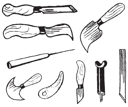 A set of tools for the art of wood carving.