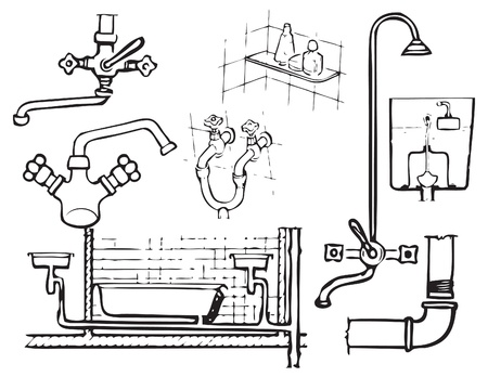 Illustrations for the design theme for plumbing work. Stock Illustratie