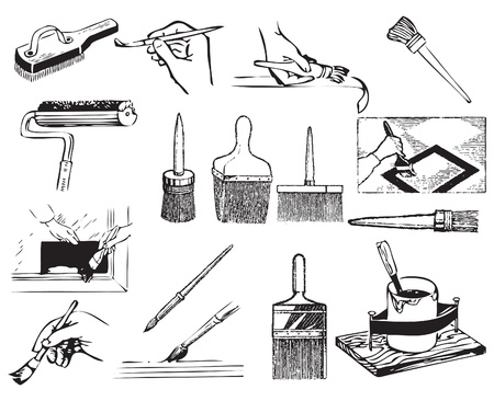 paint container: Brushes with brushes and work associated with painting the buildings.