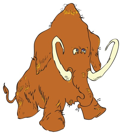 Mammoths (Latin: Mammuthus) - an extinct genus of mammal from the elephant's family, who lived in the Quaternary. Vector EPS.