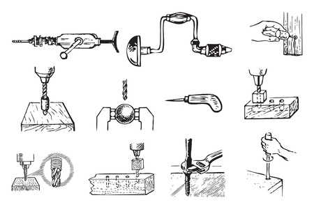 holes: Work related to drilling holes and mounting hardware.  Illustration