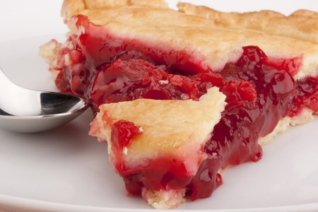 flaky: American pie cherry filling - a traditional dessert. Stock Photo