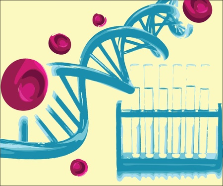 DNA helix with the test tubes in a research lab Illustration