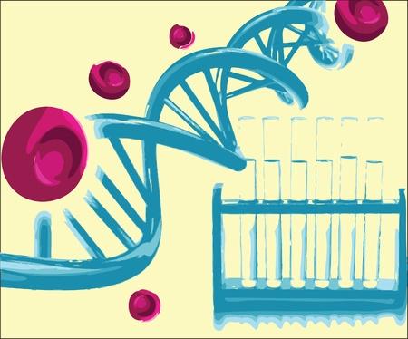 cromosoma: H�lice del ADN con los tubos de ensayo en un laboratorio de investigaci�n