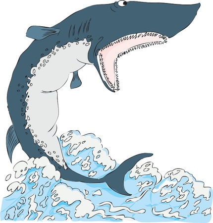 Shark with open mouth on the water surface. Ilustração