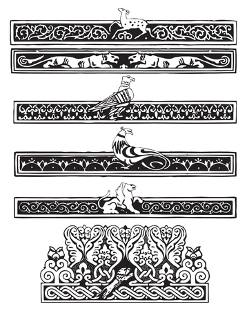 plot: Ornament with birds and animals in the Gothic plot. Illustration
