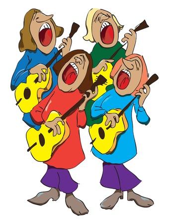 Vier zangers met gitaren organiseren muzikale kwartet. Stock Illustratie
