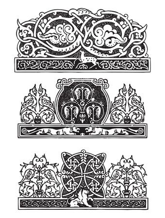 Decorative ornament in the Gothic style. Set - 1.  Illusztráció