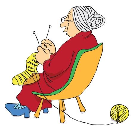 Elderly woman knitting a sock on the needles. Illustration