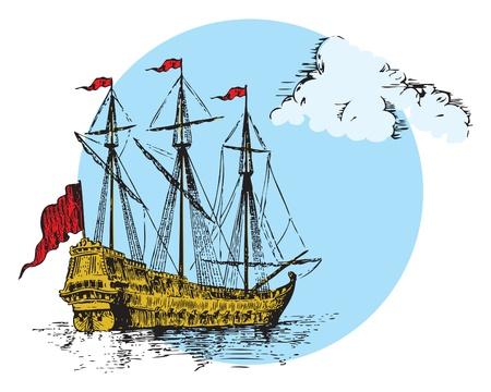 Figuur zeilschip met de wolken op een blauwe achtergrond.
