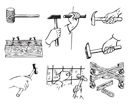 ハンマーで仕事に関連するツールです。  イラスト・ベクター素材