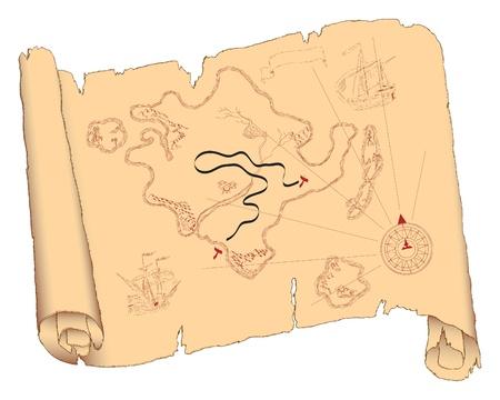 古い紙の上の島は、スクロールの形で折り返されている.
