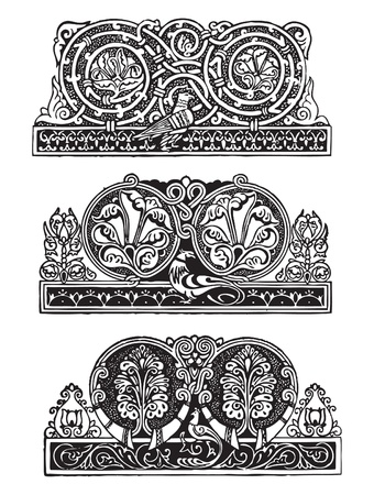 style: Decorative ornament in the Gothic style. Set - 2.