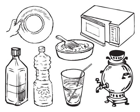 Equipment for the kitchen in a vector format EPS.