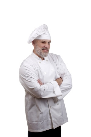 Portrait of a happy chef winking in a chef's hat and uniform isolated on a white background. Stock Photo - 10679899