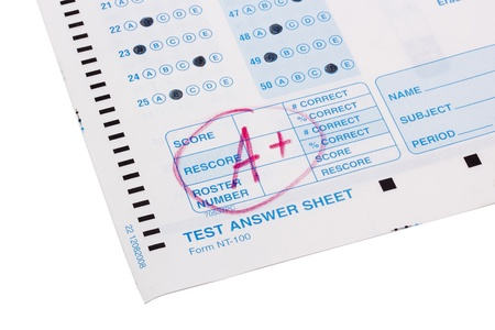 Close-up photograph of a perfect grade on a scantron test.
