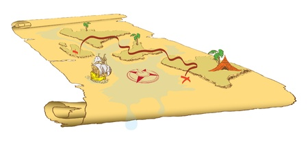 Abstract map located in the projection and stylized ancient scroll. Vector illustration of a format EPS. Vector