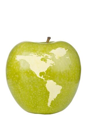 hemisphere: Apple depicting the western hemisphere of the globe.