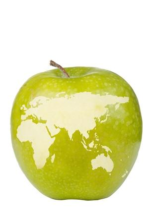Apple depicting the eastern hemisphere of the globe.