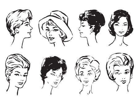persona: Womens faces in middle age. Vector illustration of a format EPS.