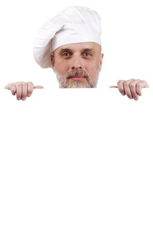 Portrait of a chef holding a blank sign for your text. Stock Photo - 10679997