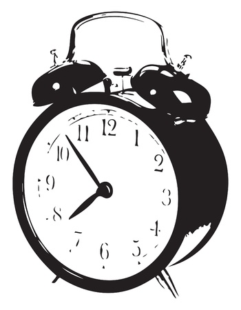 Mechanical alarm clock with snooze on the case. Vector illustration of a format EPS.
