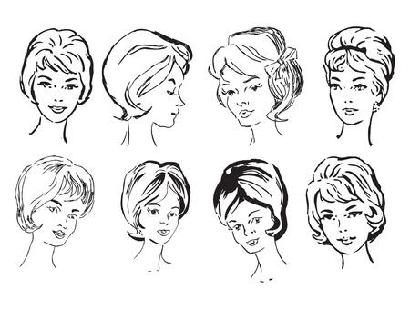 디자인 작업을위한 중간 나이의 여성 얼굴의 집합. 형식 EPS 벡터 일러스트 레이 션. 일러스트