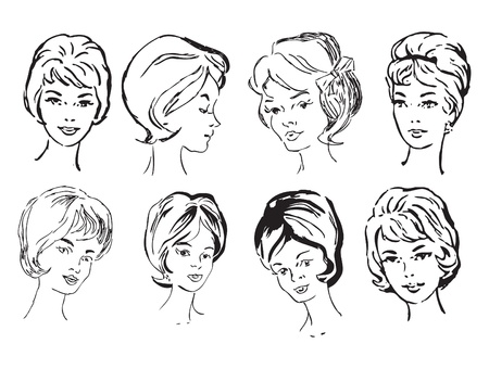 A set of female faces of middle age for design work. Vector illustration of a format EPS. Illustration