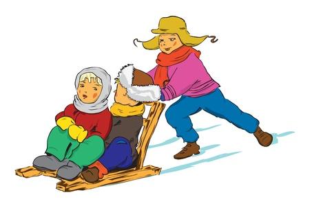 Winter. Children ride the old wooden sled. Vector illustration of a format EPS. Illustration
