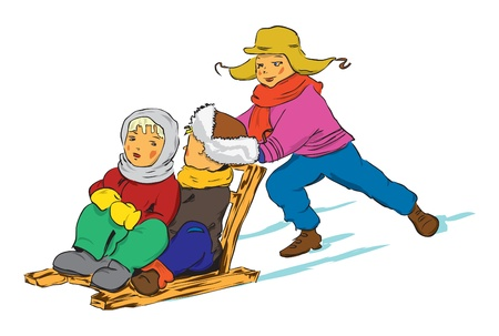 Winter. Children ride the old wooden sled. Vector illustration of a format EPS. Illustration