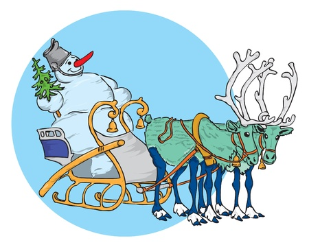 reins: Snowman with Christmas tree in a sleigh pulled by reindeer. Vector illustration of a format EPS.