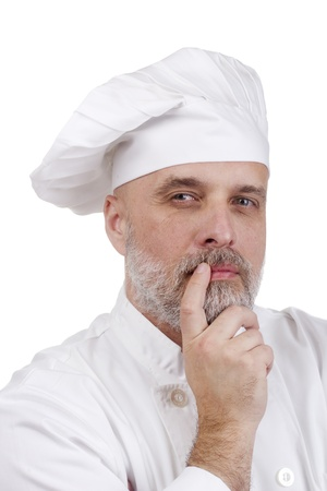 Portrait of a thinking chef on white. Stock Photo - 10739647