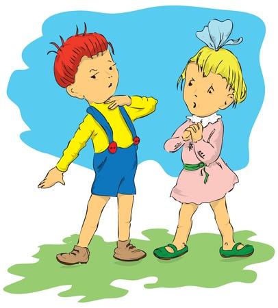 Enfants de la communauté, un garçon et une fille. La jeune fille a été surpris, étonné, le garçon lui tient la main à sa gorge.