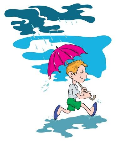 Figure boy who ran through the puddles under an umbrella.
