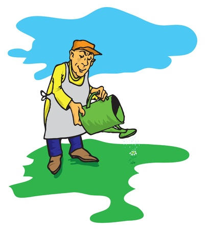 Figure male gardener who waters the green lawn. Vectores