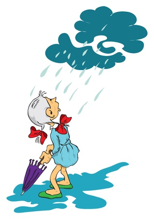 cartoon umbrella: Picture of a girl who opens an umbrella, it starts to rain.