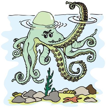 Figure octopus tentacles waving in the style of cartoon fun. Vector