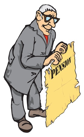 pensioen: Figuur gepensioneerde met een pensioen verzekering in de hand.