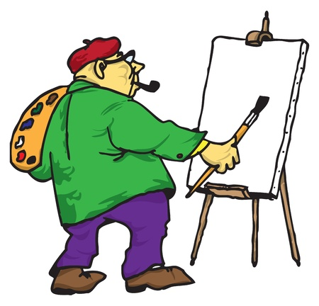 adeptness: Picture of the artist with his easel, palette and brush.