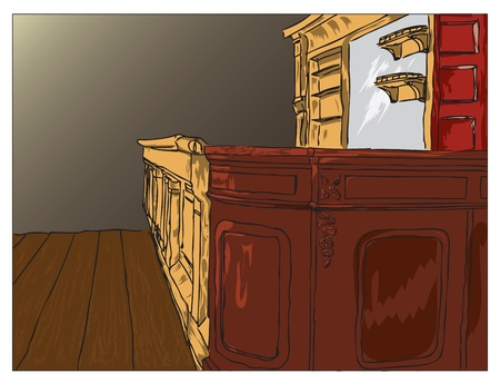 bar: Picture of an old saloon bar with a mirror and with empty shelves.
