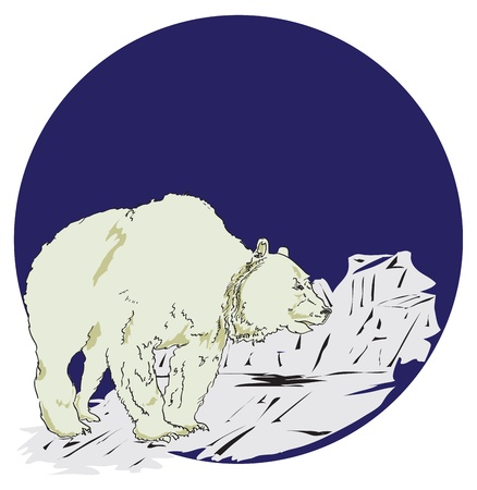 floe: Polar bear on ice floe. Illustration in the style of the cartoon.