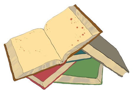 classbook: Picture of an open book on a pile of books. Illustration