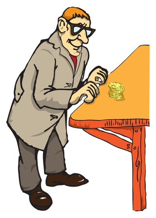 An elderly man with glasses is based on a wooden rack in front of him a stack of coins.