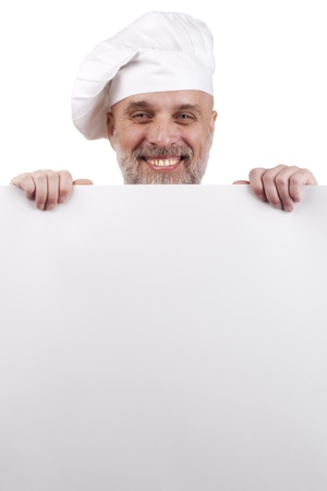 Portrait of a chef holding a blank sign for your text. Stock Photo - 10990561